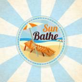 Summer sun bathe on the shore — Stock Vector