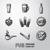 Pub, bier handgetekende pictogrammen instellen. — Stockvector