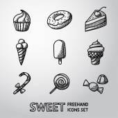 Sweet handdrawn icons set — Stock Vector