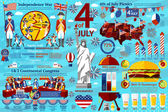 Fourth July infographics, historical events - war, signing of declaration, picnics, bbqs etc. Vector — Stock Vector