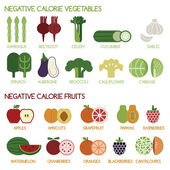 Negative calorie vegetables and fruits — Vector de stock