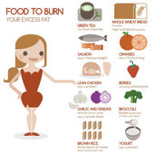 Food to burn your excess fat — Vector de stock