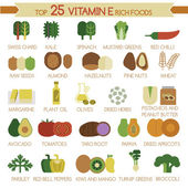 Top 25 vitamin E rich foods — ストックベクタ