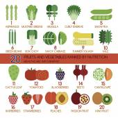 20 fruits and vegetables ranked by nutrition — Stok Vektör