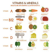 Vitamins and Minerals foods Illustrator set 1 — Stock Vector