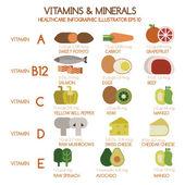 Vitamins and Minerals foods Illustrator set 1 — Stock Vector