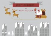 Merry Christmas Santa and Raindeers gray background — Wektor stockowy