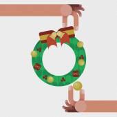 Noel kavramı ile izole kırmızı şerit yay dekorasyonu ile Noel çelenk — Stok fotoğraf