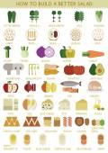 How to build a better salad — Stock Vector