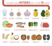 Cleanse your arteries with these 15 foods — Stock Vector