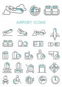 Airport Icons set vector design — Stock Vector