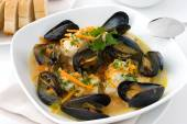 Haddock and mussel stew — Stock Photo