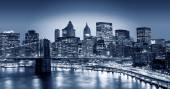 Manhattan and Brooklyn bridge night view — Stok fotoğraf