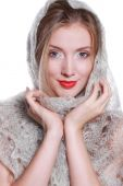 The girl in the shawl — Stock Photo