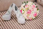 Wedding flower shoes — Fotografia Stock