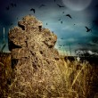 Halloween terrible Cemetery with old gravestones crosses, the moon and a flock of crows — Stock Photo #54963717