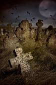 Halloween terrible Cemetery with old gravestones crosses, the moon and a flock of crows — Stock Photo