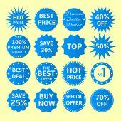 Blue seals-stickers set — Stock Vector