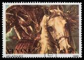 Horseman in armour — Stock Photo
