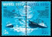 icebreaker Vladivostok and Somov — Stock Photo
