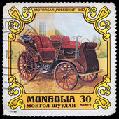Stamp printed in Mongolia with car — Stock Photo