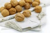 Walnuts on a napkin — 图库照片