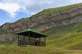 A gazebo for relaxing in the mountains — Stock Photo