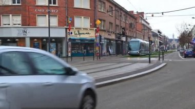 Modern tram in Valenciennes, France — Stock Video