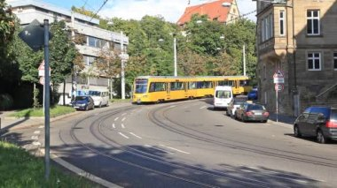 Stadtbahn tram on a street of  the city — Stock Video
