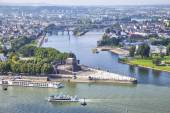 Deutsches Eck - monument at the confluence of rivers in Koblenz — Stock Photo