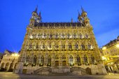 Gothic town hall in evening light, Leuven — Stock Photo