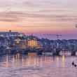 Mittlere bridge over Rhine and city skyline at sunset, Basel — Stock Photo #56738487