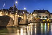 Mittlere bridge over Rhine river at sunset, Basel — Stock Photo