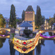 Evening panorama of Pont Couverts in Strasbourg — Stock Photo #58339809