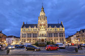 Town hall of Shaerbeek in the evening, Brussels — Stock Photo