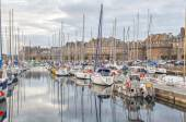 Boats in the port of historical city Saint Malo,  France — Stock Photo