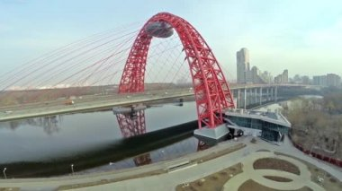 Aerial view on Red suspension bridge, Moscow — Stockvideo