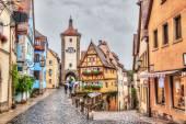Medieval town Rothenburg ob der Tauber in rainy weather — Stock Photo