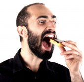 Eating a cake — Stock Photo