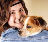 Girl with dog — Stock Photo