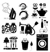 Set of icons and labels home life — Stock Vector