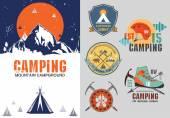 Set of vintage outdoor camp badges — Stock Vector