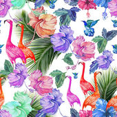 Tropical pattern with flamingos — Stock Vector