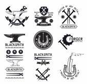 Set of retro blacksmith logo — Stock Vector