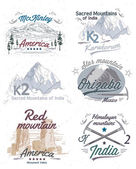 Set of logos with views of mountains — Stock Vector