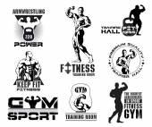 Set of vintage Bodybuilding — Stock Vector