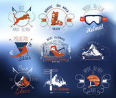 Set icons skiing and mountaineering — Stock Vector