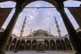 Welcome to Blue Mosque at dawn-exhibition decoration, Istanbul,  — Stock Photo