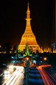 Sule Pagoda at night, Yangon, Myanmar — Stock Photo
