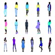 Set of colored street fashion women — Stock Vector #65758907